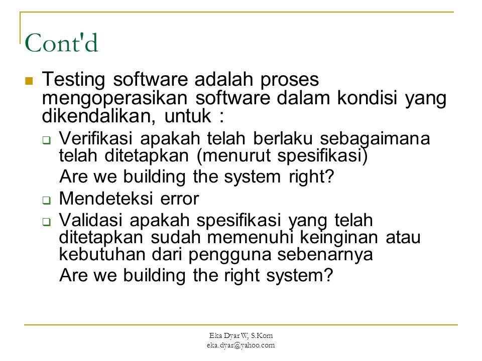 Eka Dyar W, S.Kom eka.dyar@yahoo.com Cont d Testing software adalah proses mengoperasikan software dalam kondisi yang dikendalikan, untuk :  Verifikasi apakah telah berlaku sebagaimana telah ditetapkan (menurut spesifikasi) Are we building the system right.