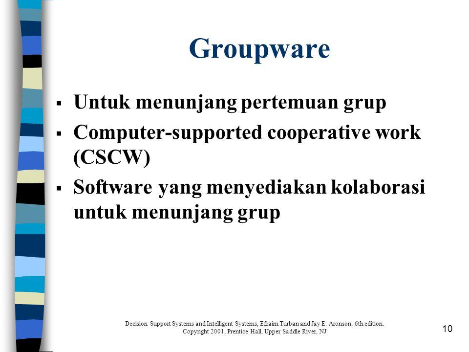 10 Groupware  Untuk menunjang pertemuan grup  Computer-supported cooperative work (CSCW)  Software yang menyediakan kolaborasi untuk menunjang grup
