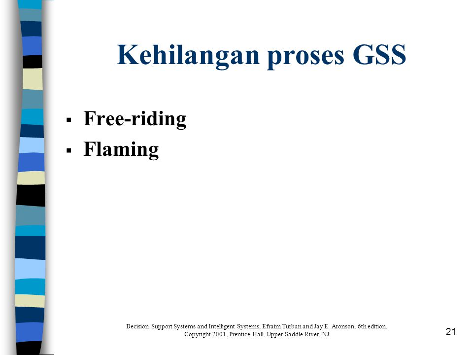 21 Kehilangan proses GSS  Free-riding  Flaming Decision Support Systems and Intelligent Systems, Efraim Turban and Jay E.