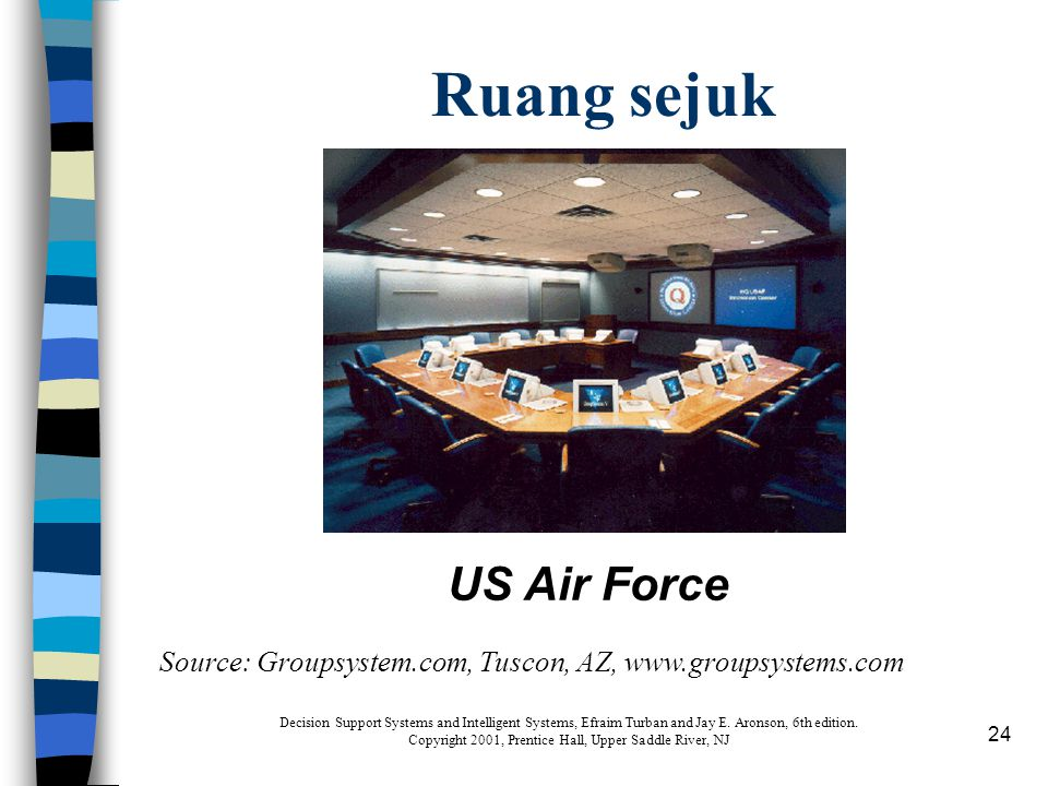 24 Ruang sejuk Source: Groupsystem.com, Tuscon, AZ, www.groupsystems.com US Air Force Decision Support Systems and Intelligent Systems, Efraim Turban and Jay E.
