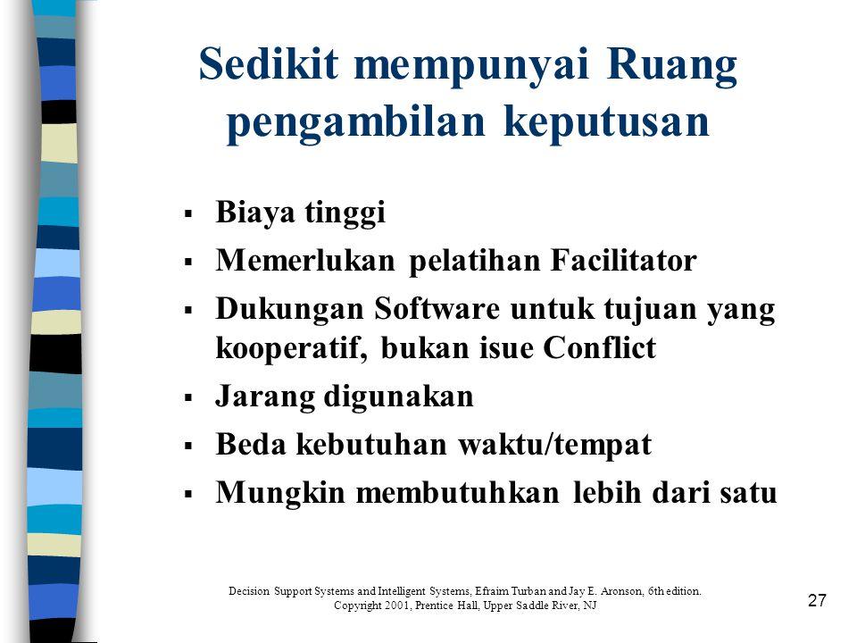 27 Sedikit mempunyai Ruang pengambilan keputusan  Biaya tinggi  Memerlukan pelatihan Facilitator  Dukungan Software untuk tujuan yang kooperatif, b