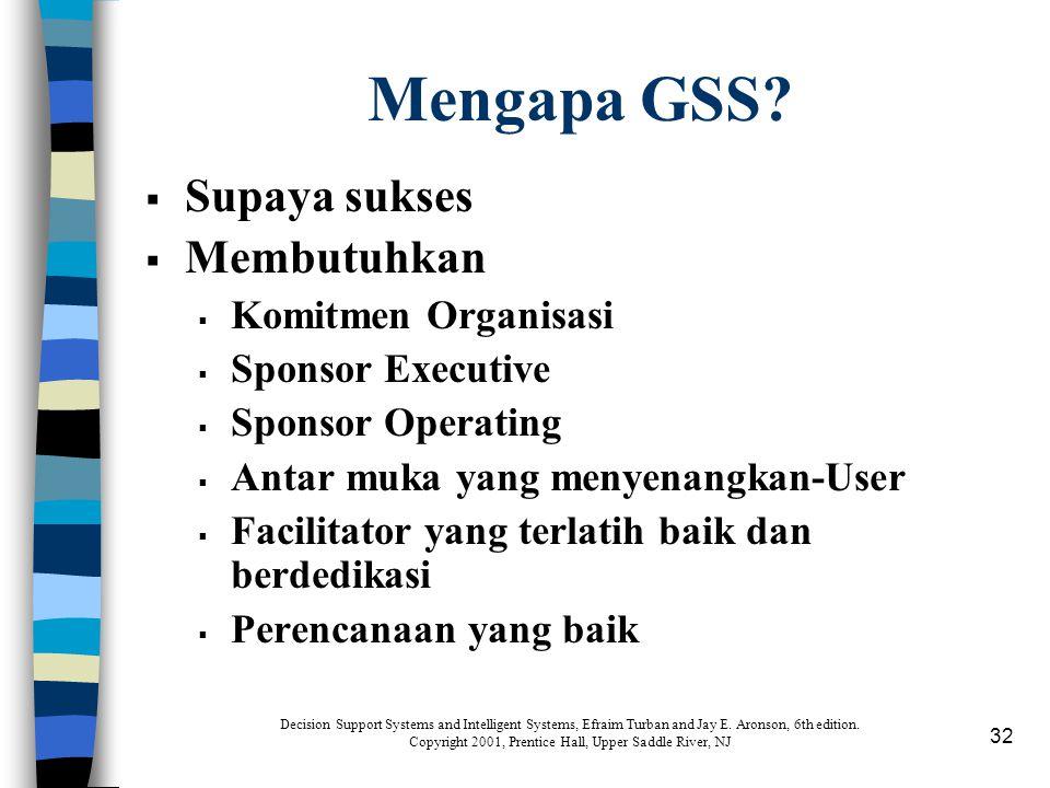 32 Mengapa GSS?  Supaya sukses  Membutuhkan  Komitmen Organisasi  Sponsor Executive  Sponsor Operating  Antar muka yang menyenangkan-User  Faci