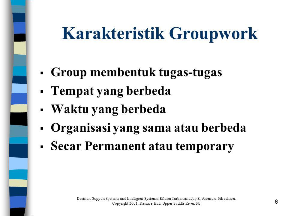 6 Karakteristik Groupwork  Group membentuk tugas-tugas  Tempat yang berbeda  Waktu yang berbeda  Organisasi yang sama atau berbeda  Secar Permane