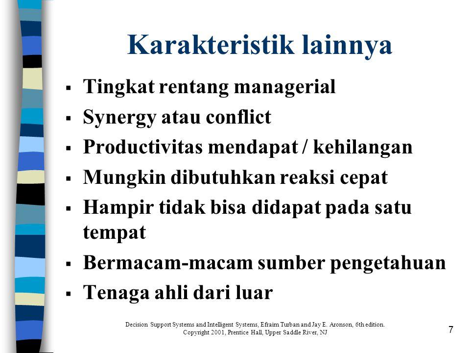7 Karakteristik lainnya  Tingkat rentang managerial  Synergy atau conflict  Productivitas mendapat / kehilangan  Mungkin dibutuhkan reaksi cepat 