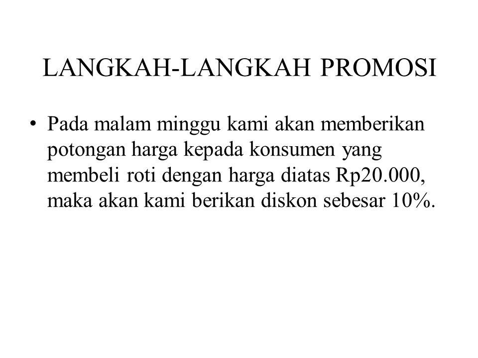 LANGKAH-LANGKAH PROMOSI Pada malam minggu kami akan memberikan potongan harga kepada konsumen yang membeli roti dengan harga diatas Rp20.000, maka aka