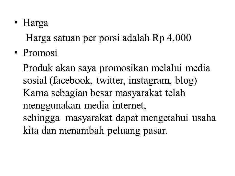 Harga Harga satuan per porsi adalah Rp 4.000 Promosi Produk akan saya promosikan melalui media sosial (facebook, twitter, instagram, blog) Karna sebag