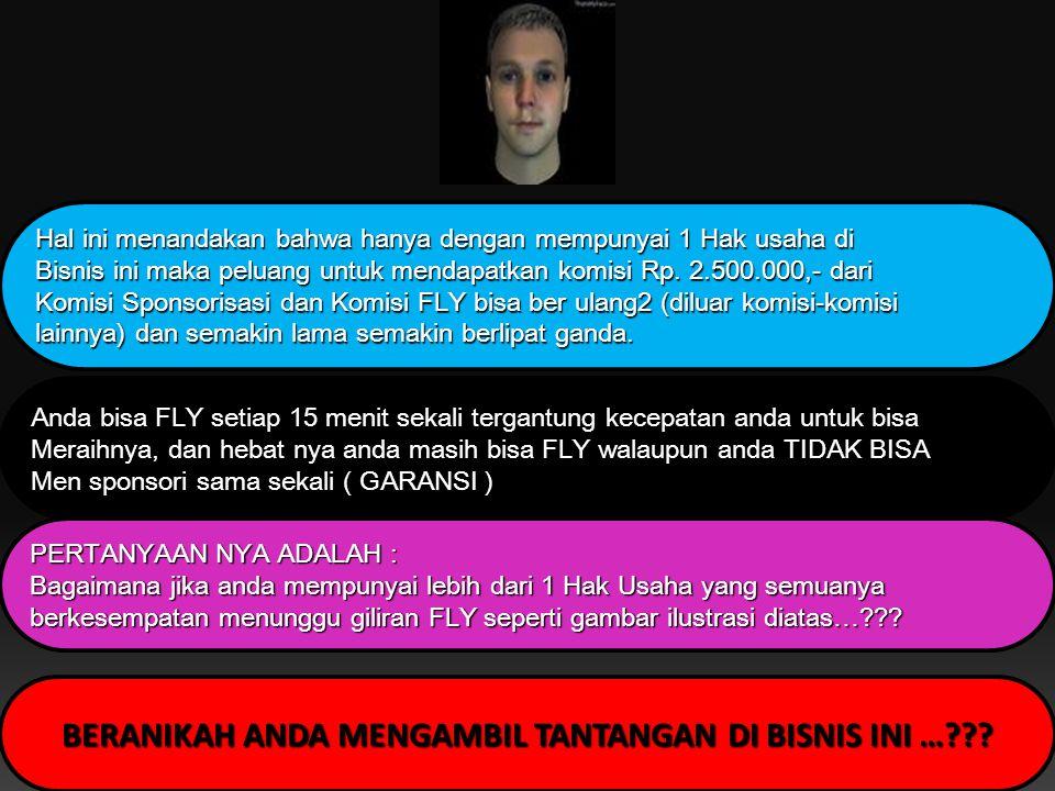 Hak usaha CINDY FLY maka 2 Hak Usaha CINDY yang baru akan mengisi Kotak AMY yang kosong, sehingga AMY qualified FLY dan berhak atas komisi Rp.2.000.00