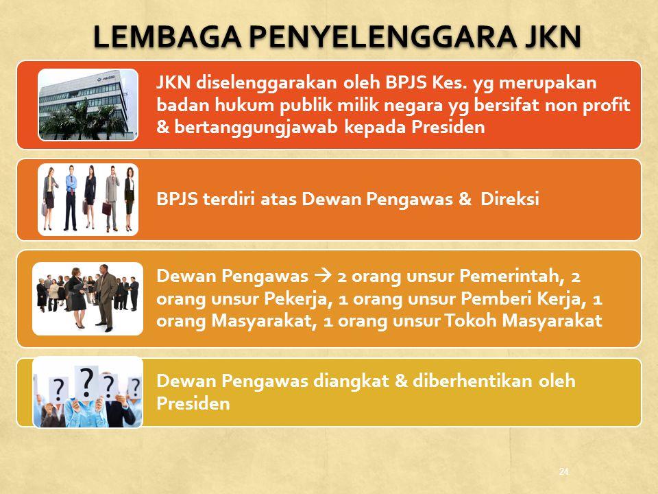 24 JKN diselenggarakan oleh BPJS Kes. yg merupakan badan hukum publik milik negara yg bersifat non profit & bertanggungjawab kepada Presiden BPJS terd