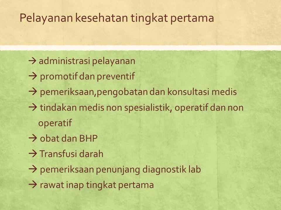 Pelayanan kesehatan tingkat pertama  administrasi pelayanan  promotif dan preventif  pemeriksaan,pengobatan dan konsultasi medis  tindakan medis n