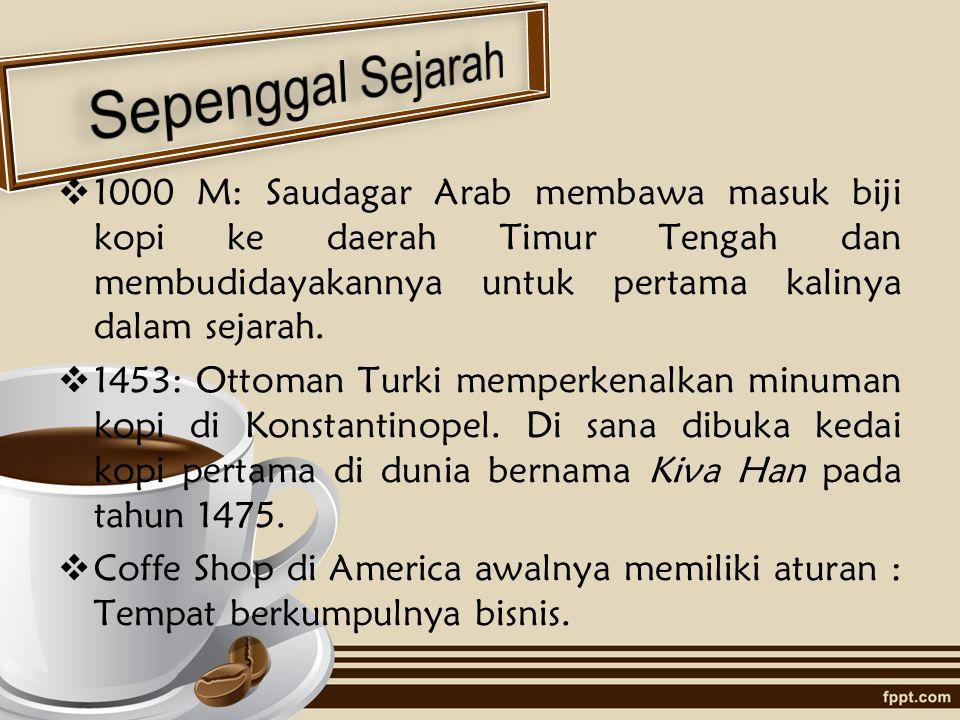  1000 M: Saudagar Arab membawa masuk biji kopi ke daerah Timur Tengah dan membudidayakannya untuk pertama kalinya dalam sejarah.