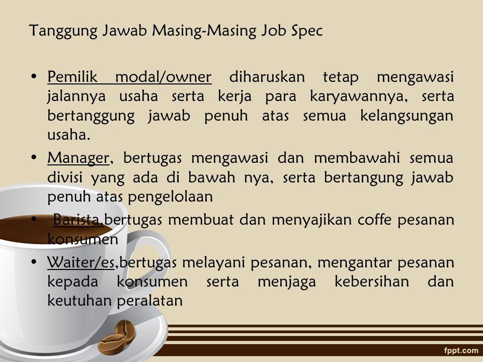 2. Waiter/es Kriteria yang diharapkan :  Lulusan SMA/ SMK  Jujur  Berpenampilan menarik  Bersih dan cekatan  Dapat bekerja dalam tim Job Spec : 