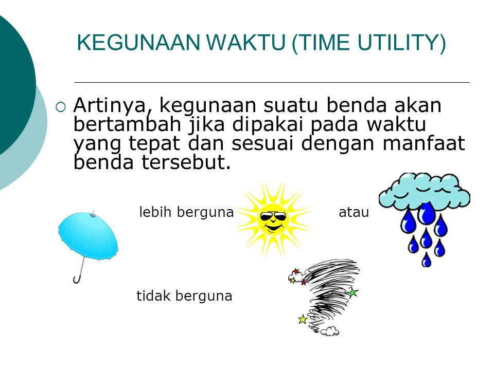 KEGUNAAN WAKTU (TIME UTILITY)  Artinya, kegunaan suatu benda akan bertambah jika dipakai pada waktu yang tepat dan sesuai dengan manfaat benda terseb