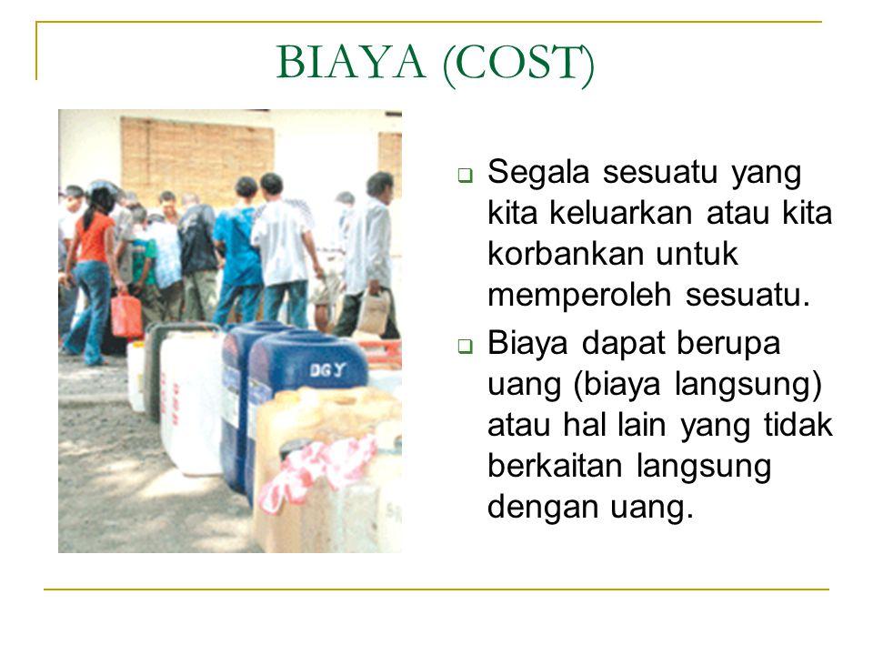 BIAYA (COST)  Segala sesuatu yang kita keluarkan atau kita korbankan untuk memperoleh sesuatu.  Biaya dapat berupa uang (biaya langsung) atau hal la