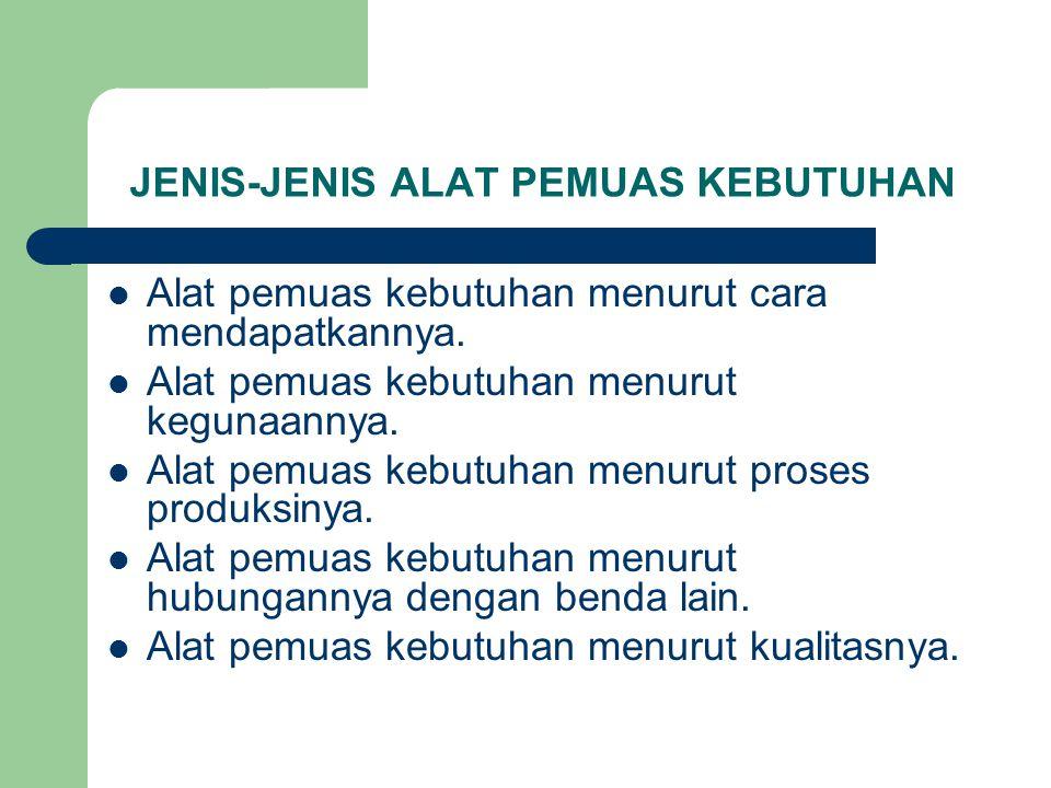 JENIS-JENIS ALAT PEMUAS KEBUTUHAN Alat pemuas kebutuhan menurut cara mendapatkannya. Alat pemuas kebutuhan menurut kegunaannya. Alat pemuas kebutuhan