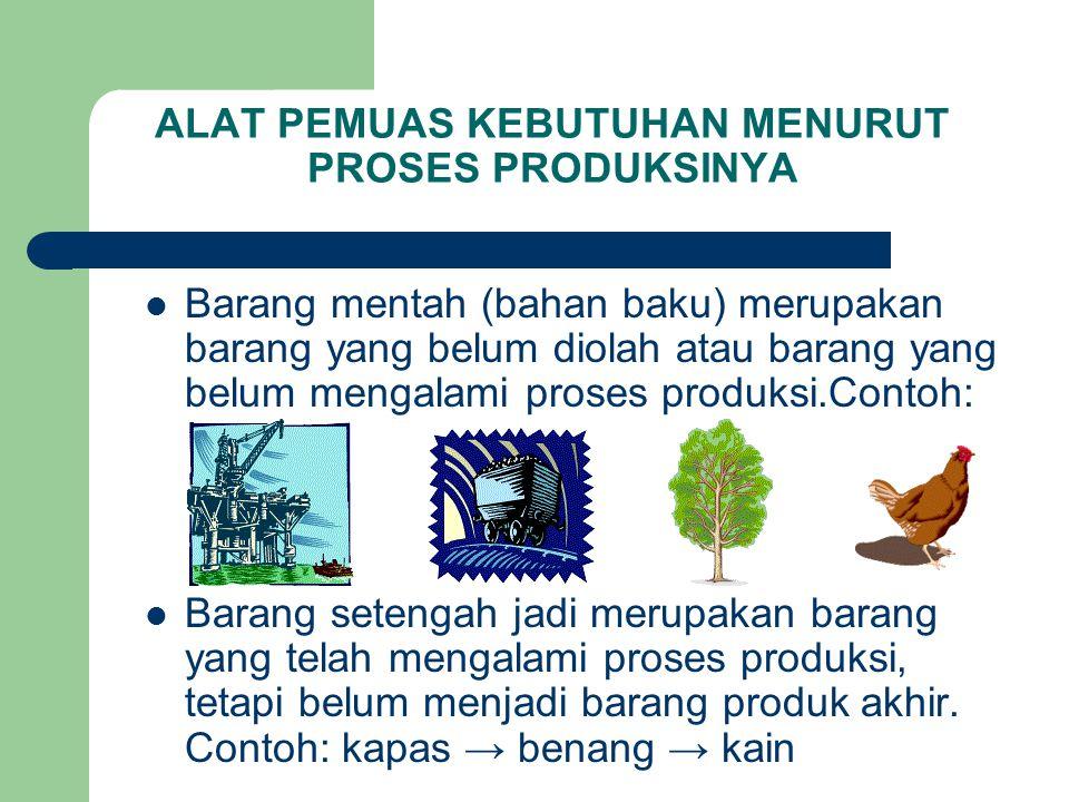 ALAT PEMUAS KEBUTUHAN MENURUT PROSES PRODUKSINYA Barang mentah (bahan baku) merupakan barang yang belum diolah atau barang yang belum mengalami proses