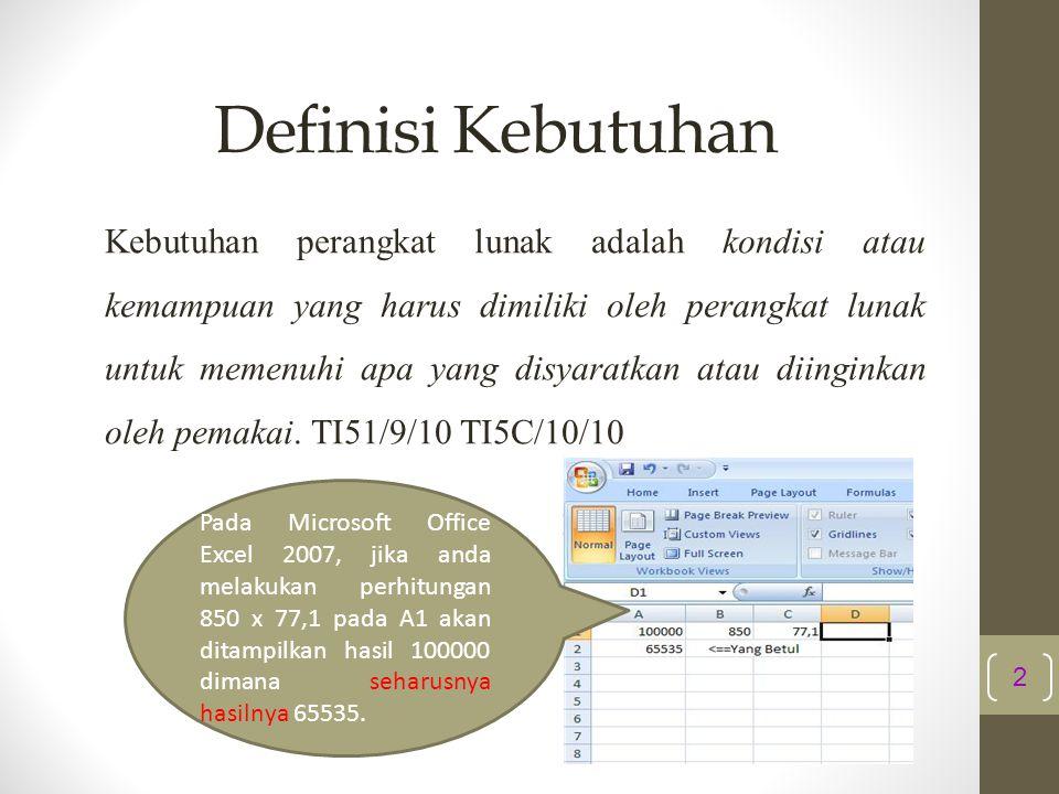Definisi Kebutuhan Kebutuhan perangkat lunak adalah kondisi atau kemampuan yang harus dimiliki oleh perangkat lunak untuk memenuhi apa yang disyaratka