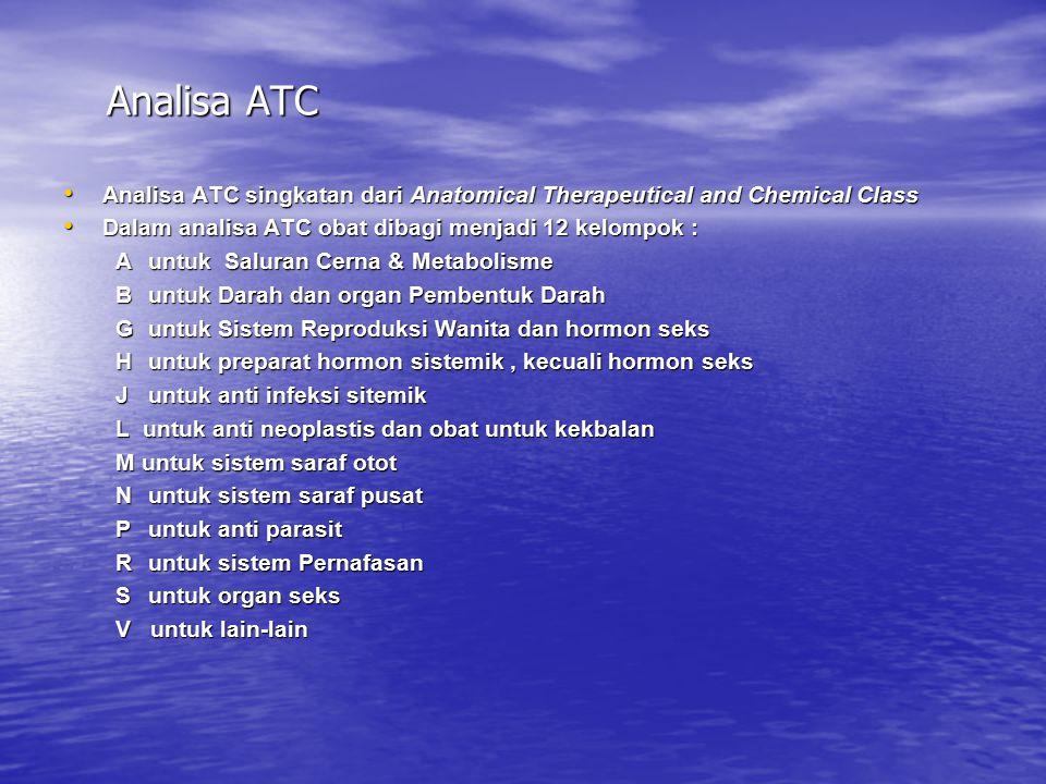 Analisa ATC Analisa ATC singkatan dari Anatomical Therapeutical and Chemical Class Analisa ATC singkatan dari Anatomical Therapeutical and Chemical Cl