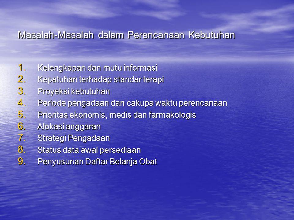 Masalah-Masalah dalam Perencanaan Kebutuhan 1.Kelengkapan dan mutu informasi 2.