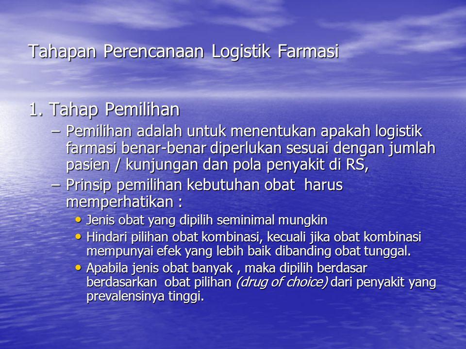 Tahapan Perencanaan Logistik Farmasi 1. Tahap Pemilihan –Pemilihan adalah untuk menentukan apakah logistik farmasi benar-benar diperlukan sesuai denga