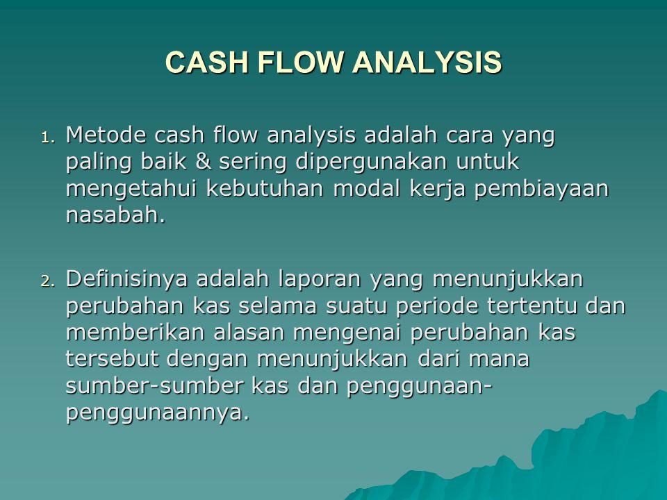 CASH FLOW ANALYSIS 1. Metode cash flow analysis adalah cara yang paling baik & sering dipergunakan untuk mengetahui kebutuhan modal kerja pembiayaan n