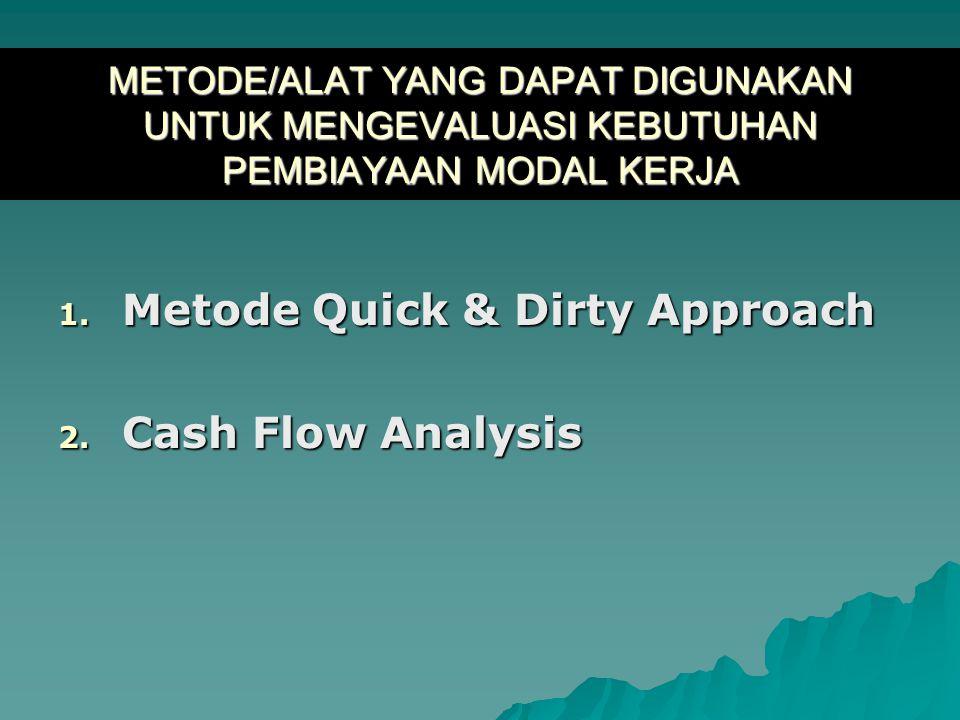 METODE/ALAT YANG DAPAT DIGUNAKAN UNTUK MENGEVALUASI KEBUTUHAN PEMBIAYAAN MODAL KERJA 1. Metode Quick & Dirty Approach 2. Cash Flow Analysis