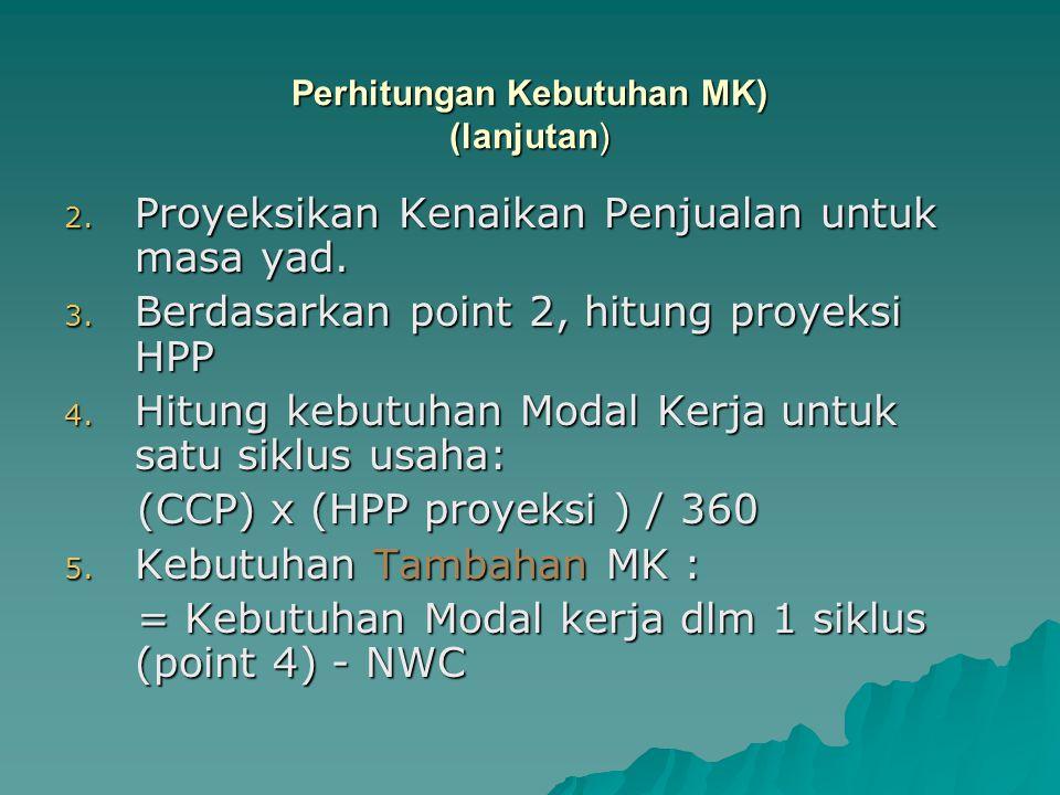 2. Proyeksikan Kenaikan Penjualan untuk masa yad. 3. Berdasarkan point 2, hitung proyeksi HPP 4. Hitung kebutuhan Modal Kerja untuk satu siklus usaha: