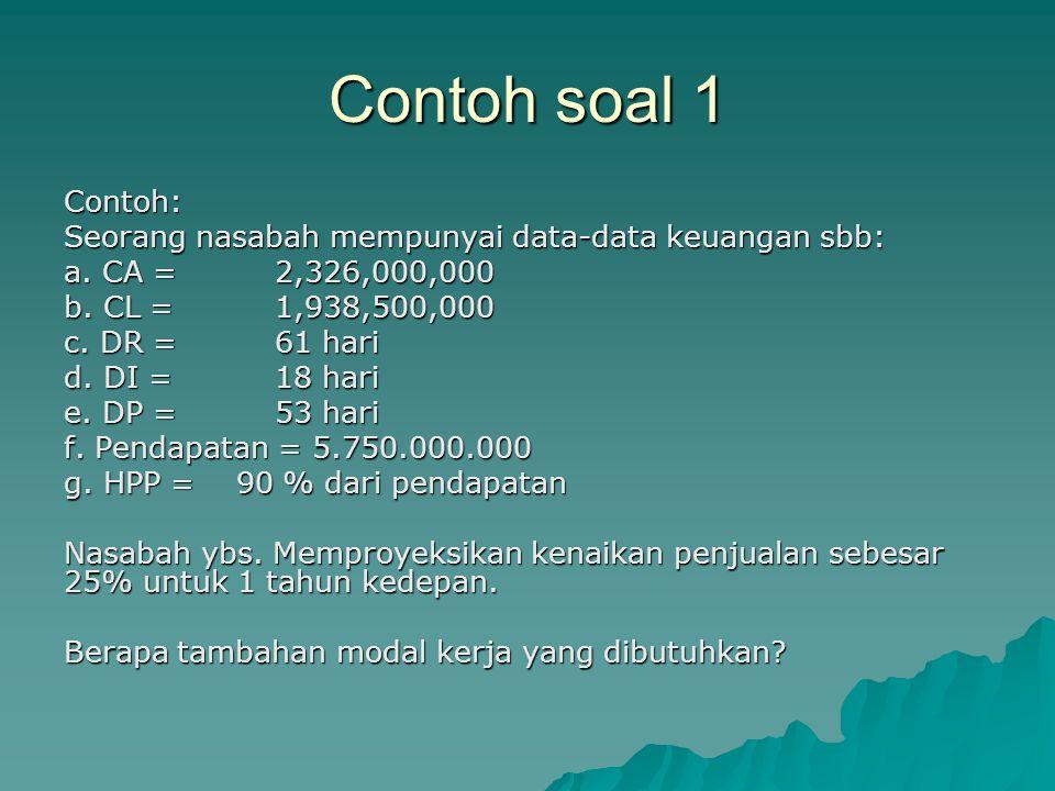 Contoh soal 1 Contoh: Seorang nasabah mempunyai data-data keuangan sbb: a. CA = 2,326,000,000 b. CL = 1,938,500,000 c. DR =61 hari d. DI = 18 hari e.