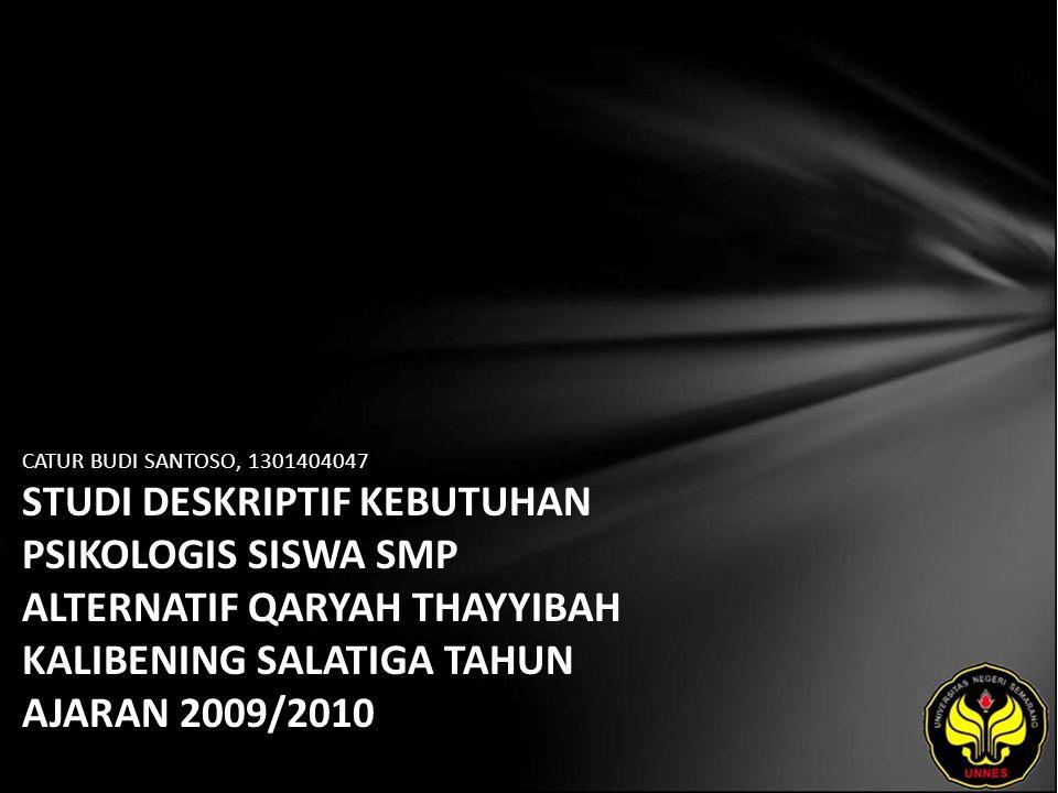 CATUR BUDI SANTOSO, 1301404047 STUDI DESKRIPTIF KEBUTUHAN PSIKOLOGIS SISWA SMP ALTERNATIF QARYAH THAYYIBAH KALIBENING SALATIGA TAHUN AJARAN 2009/2010