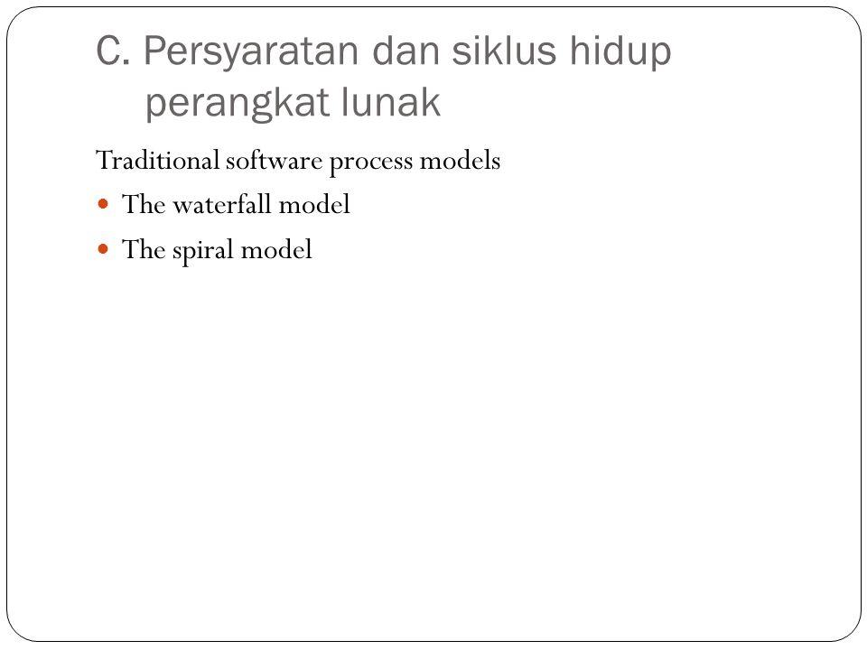 C. Persyaratan dan siklus hidup perangkat lunak Traditional software process models The waterfall model The spiral model