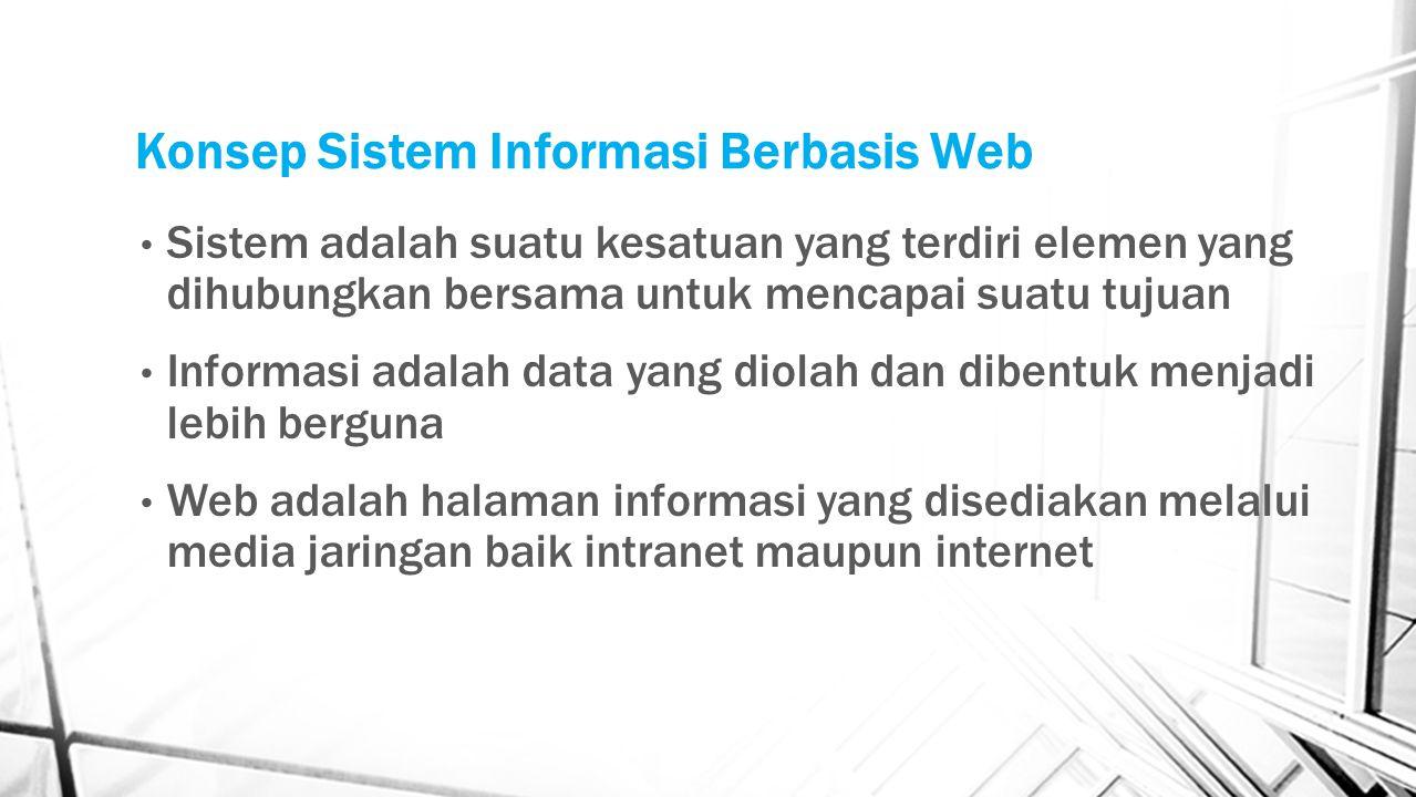 Konsep Sistem Informasi Berbasis Web Sistem adalah suatu kesatuan yang terdiri elemen yang dihubungkan bersama untuk mencapai suatu tujuan Informasi a