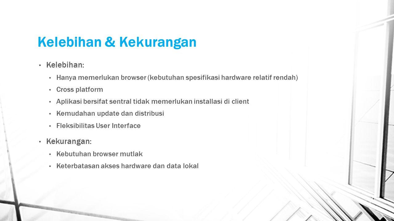 Kelebihan & Kekurangan Kelebihan: Hanya memerlukan browser (kebutuhan spesifikasi hardware relatif rendah) Cross platform Aplikasi bersifat sentral ti
