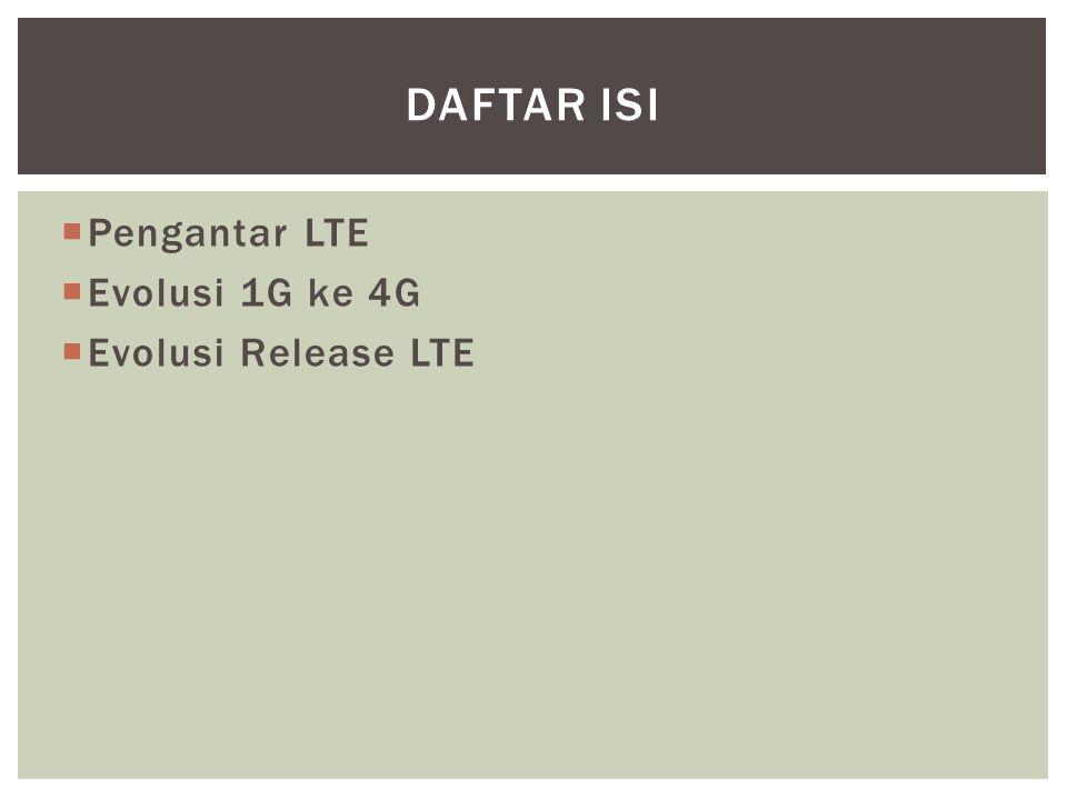  Pengantar LTE  Evolusi 1G ke 4G  Evolusi Release LTE DAFTAR ISI