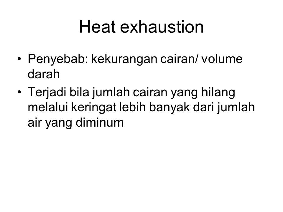 Heat exhaustion Penyebab: kekurangan cairan/ volume darah Terjadi bila jumlah cairan yang hilang melalui keringat lebih banyak dari jumlah air yang di