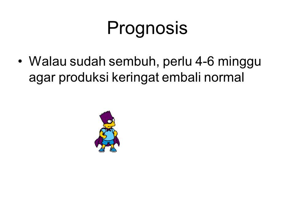 Prognosis Walau sudah sembuh, perlu 4-6 minggu agar produksi keringat embali normal
