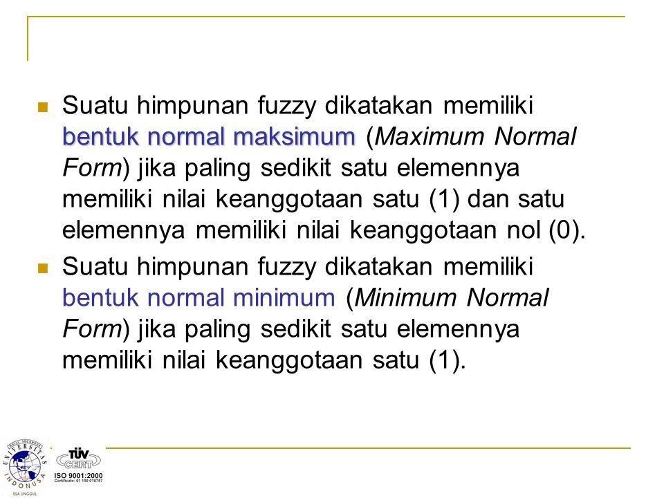 bentuk normal maksimum Suatu himpunan fuzzy dikatakan memiliki bentuk normal maksimum (Maximum Normal Form) jika paling sedikit satu elemennya memilik