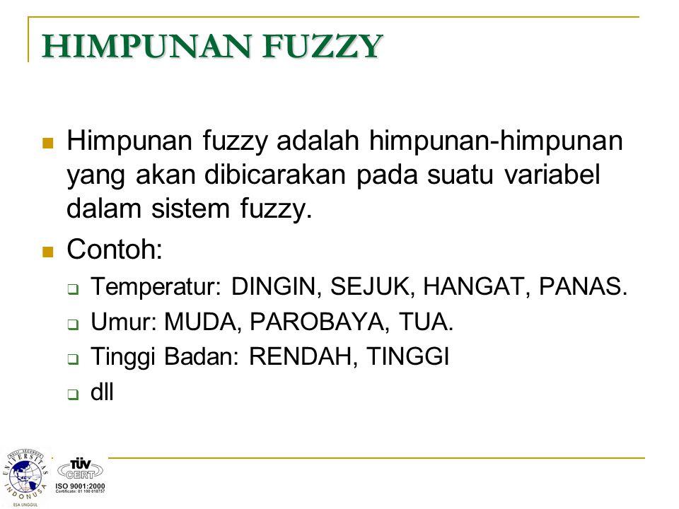 HIMPUNAN FUZZY Himpunan fuzzy adalah himpunan-himpunan yang akan dibicarakan pada suatu variabel dalam sistem fuzzy. Contoh:  Temperatur: DINGIN, SEJ