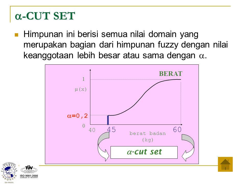 40 45 60 BERAT 1 0 berat badan (kg)  (x)  =0,2  -CUT SET Himpunan ini berisi semua nilai domain yang merupakan bagian dari himp