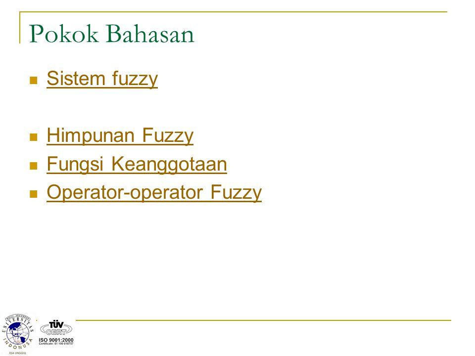 Pokok Bahasan Sistem fuzzy Himpunan Fuzzy Fungsi Keanggotaan Operator-operator Fuzzy