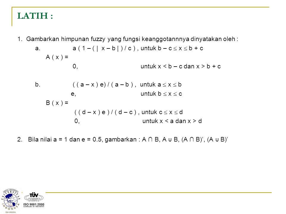 LATIH : 1. Gambarkan himpunan fuzzy yang fungsi keanggotannnya dinyatakan oleh : a. a ( 1 – ( | x – b | ) / c ), untuk b – c  x  b + c A ( x ) = 0,