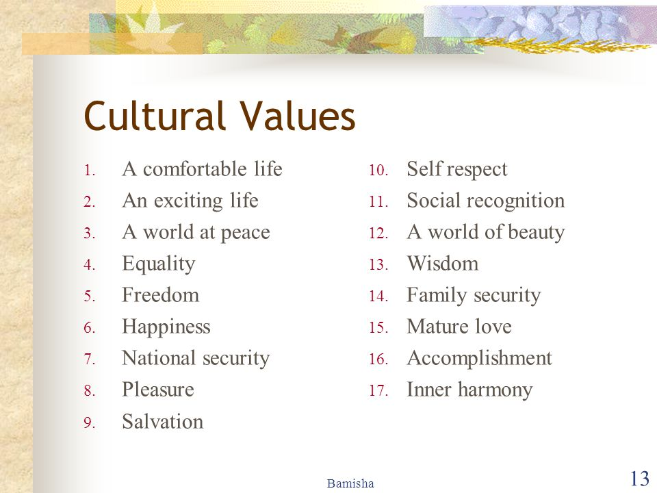 Bamisha 13 Cultural Values 1. A comfortable life 2. An exciting life 3. A world at peace 4. Equality 5. Freedom 6. Happiness 7. National security 8. P