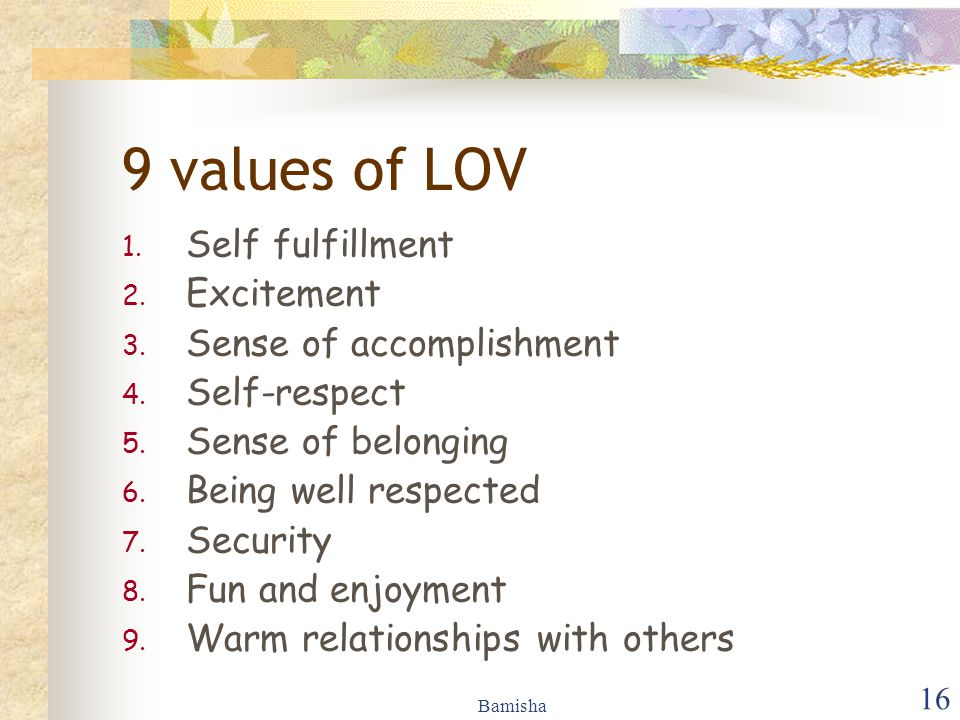 Bamisha 16 9 values of LOV 1.Self fulfillment 2. Excitement 3.