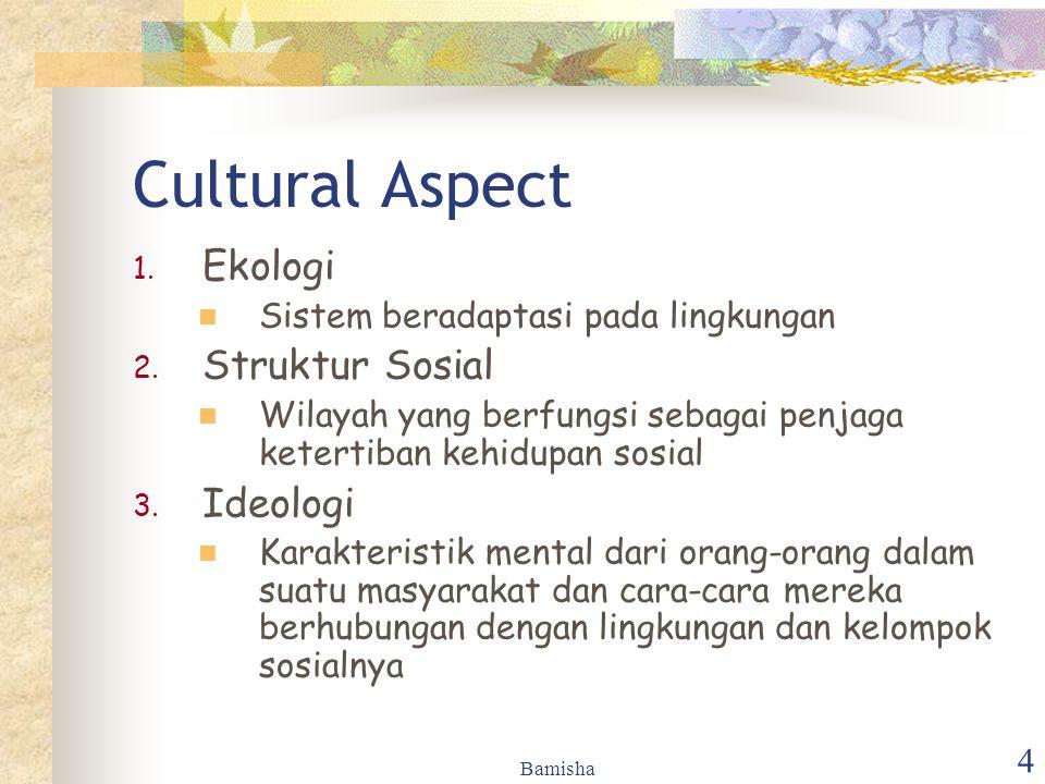 Bamisha 4 Cultural Aspect 1. Ekologi Sistem beradaptasi pada lingkungan 2. Struktur Sosial Wilayah yang berfungsi sebagai penjaga ketertiban kehidupan