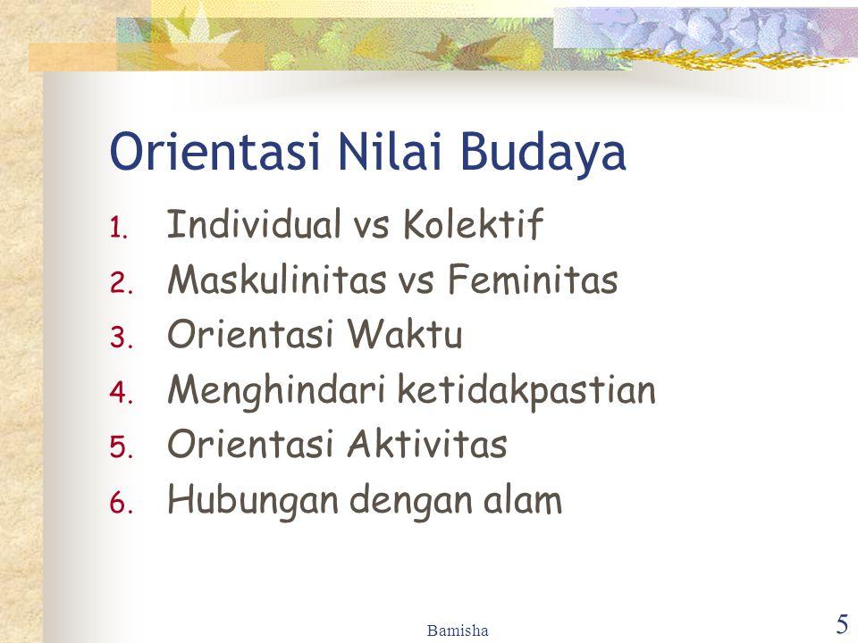 Bamisha 5 Orientasi Nilai Budaya 1. Individual vs Kolektif 2. Maskulinitas vs Feminitas 3. Orientasi Waktu 4. Menghindari ketidakpastian 5. Orientasi