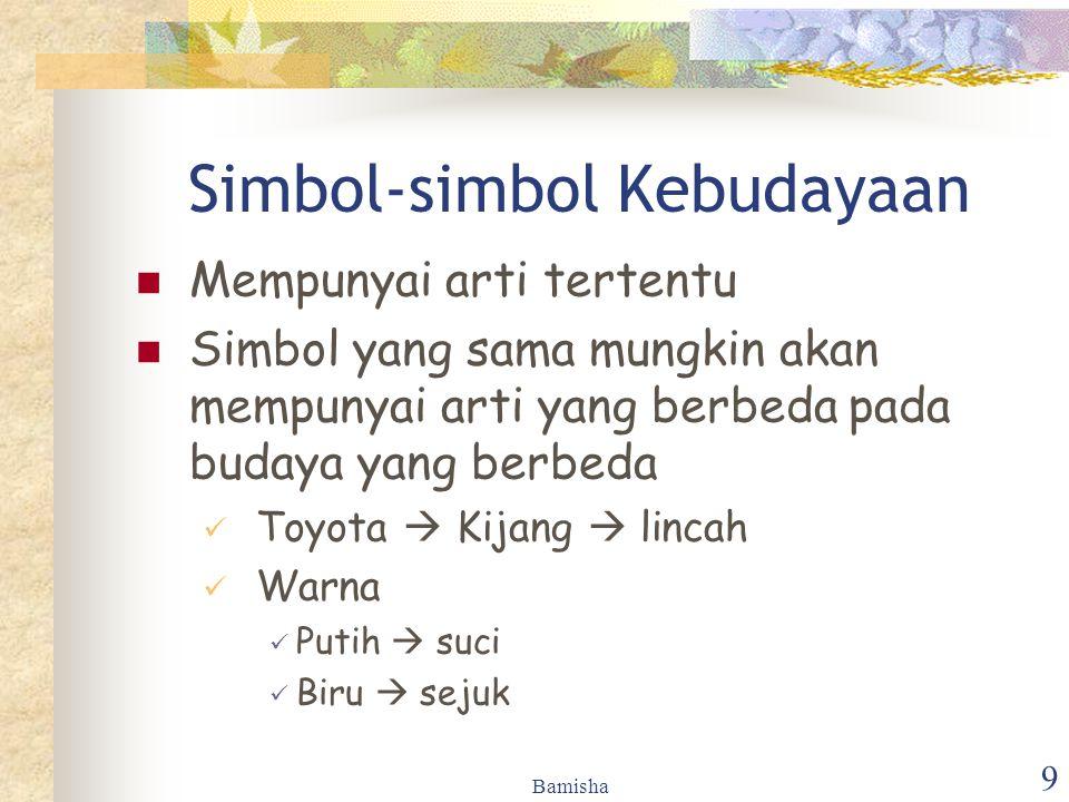 Bamisha 9 Simbol-simbol Kebudayaan Mempunyai arti tertentu Simbol yang sama mungkin akan mempunyai arti yang berbeda pada budaya yang berbeda Toyota 