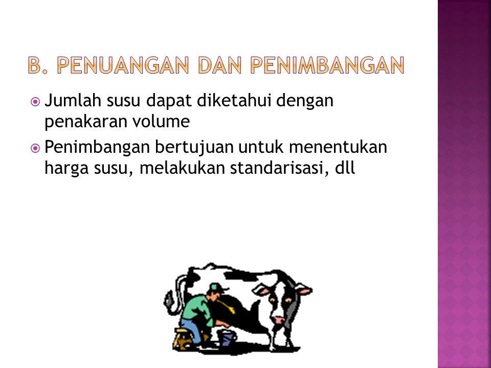  Jumlah susu dapat diketahui dengan penakaran volume  Penimbangan bertujuan untuk menentukan harga susu, melakukan standarisasi, dll