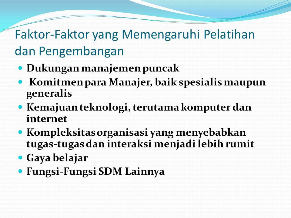Faktor-Faktor yang Memengaruhi Pelatihan dan Pengembangan Dukungan manajemen puncak Komitmen para Manajer, baik spesialis maupun generalis Kemajuan te