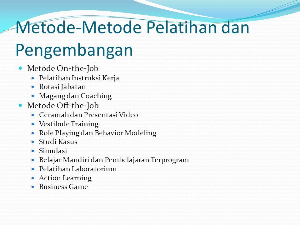 Metode-Metode Pelatihan dan Pengembangan Metode On-the-Job Pelatihan Instruksi Kerja Rotasi Jabatan Magang dan Coaching Metode Off-the-Job Ceramah dan