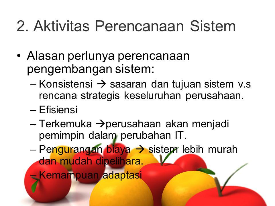 2. Aktivitas Perencanaan Sistem Alasan perlunya perencanaan pengembangan sistem: –Konsistensi  sasaran dan tujuan sistem v.s rencana strategis keselu