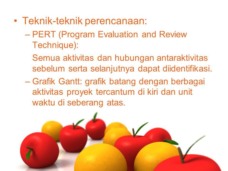 Teknik-teknik perencanaan: –PERT (Program Evaluation and Review Technique): Semua aktivitas dan hubungan antaraktivitas sebelum serta selanjutnya dapa
