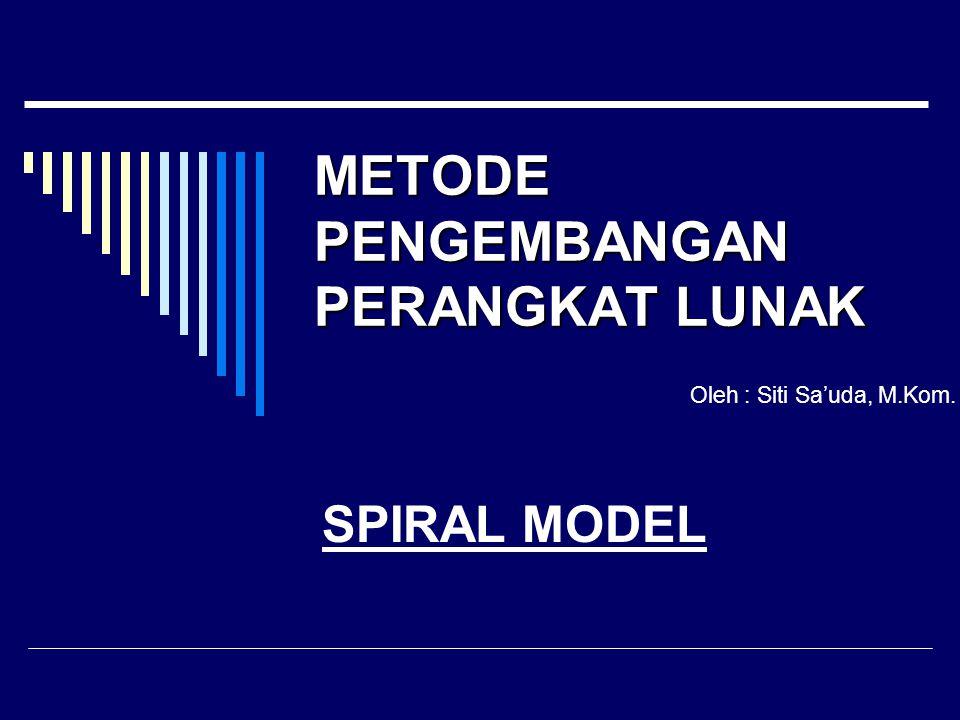 SPIRAL MODEL METODE PENGEMBANGAN PERANGKAT LUNAK Oleh : Siti Sa'uda, M.Kom.